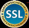 """Ein kreisrundes Logo zertifiziert die Datensicherheit durch eine SSL-Verbindung. Der blaue Kreis mit einem gelben Rand trägt in seiner Mitte den Schriftzug """"SSL"""". In dem gelben Rand steht doppelt das Wort """"Datensicherheit"""" in schwarzer Schrift, einmal im oberen und einmal im unteren Teil."""